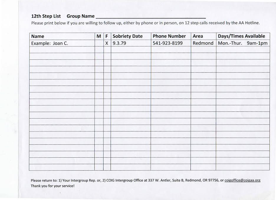 Download and print your 12 step volunteer form