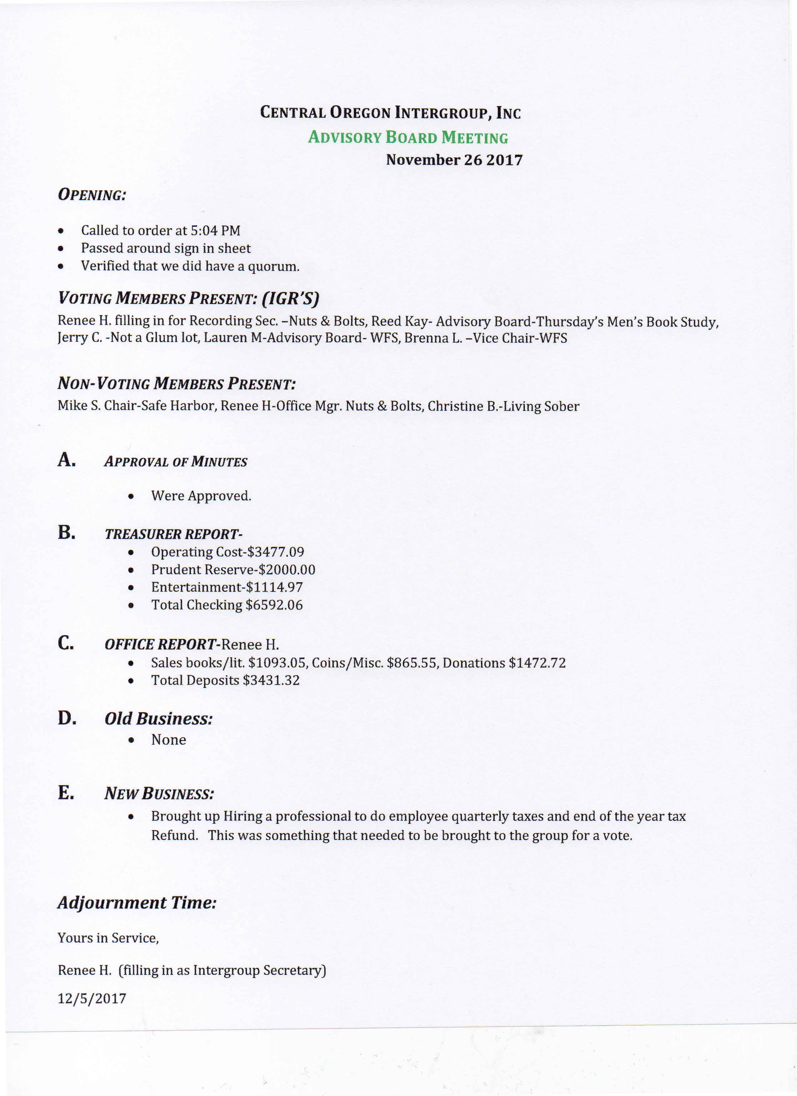 intergroup meeting minutes november 2017